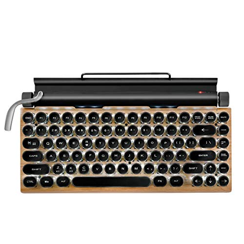 Yuui Typewriter Keyboard Wireless Bluetooth RGB Colorful Backlight Retro Mechanical Keyboard for Cellphone Tablet Laptop