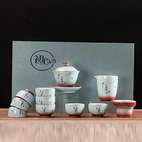 Ksnrang Juego de té Azul y Blanco Horno Que Gira el Juego de té Rojo Juego de té Juego de té Regalo Logotipo Personalizado Juego de té casero Juego de té-12 Cabezas para Ver el Mundo