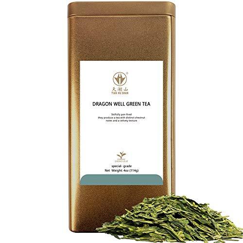 TIAN HU SHAN Special Grade Tea Chinese LongJing/Dragon Well Green Tea Loose Leaf 4oz (113g) Tin