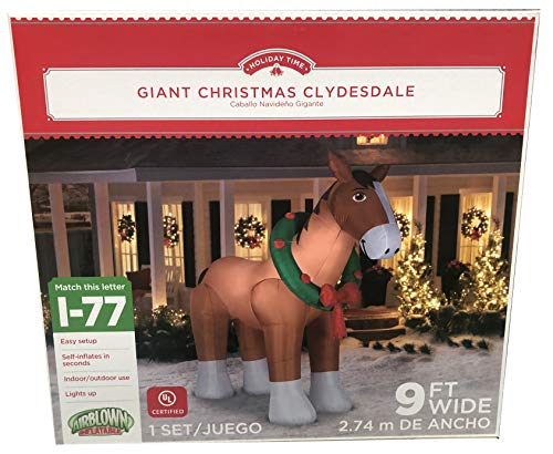 Gemmy 9' Wide Christmas Airblown Inflatable Clydesdale Horse Indoor/Outdoor Holiday Decoration