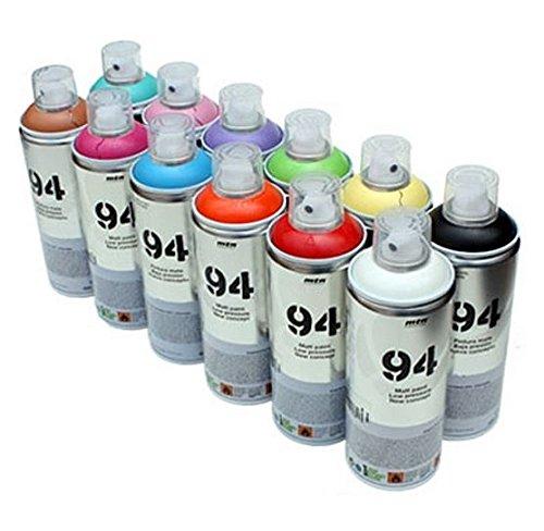 MTN 94 - Pintura en aerosol (12 botes de 400 ml), acabado mate, pintura sintética