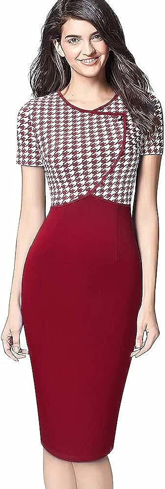 Hami House HAM Women's Business Slim Style Ruffle Work Pencil Dress