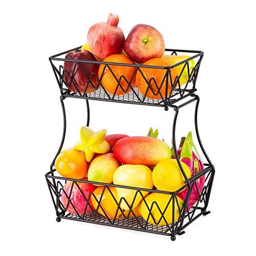 favourall Soporte de metal para cesta de frutas de 2 niveles desmontable para pan de frutas, soporte de almacenamiento, perfecto para frutas, verduras, aperitivos, artículos para el hogar, y mucho más