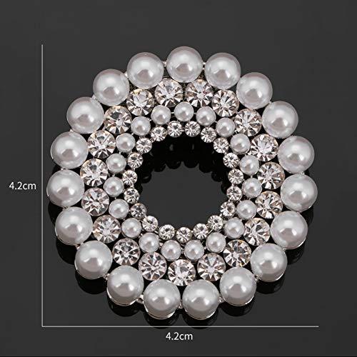 RelaxLife Brosche Kristall Strass Und Simulierte Perle Kreis Runde Doppelt Gebrauchte Brosche Pins Schal Clips Für Frauen Schmuck Zubehör