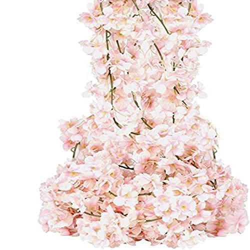 YYHMKB 4 Paquetes de Flores Artificiales de Cerezo y ratán, decoración de jardín, Flores Artificiales (Paquete Individual de 7,5 pies / 2,3 Metros)