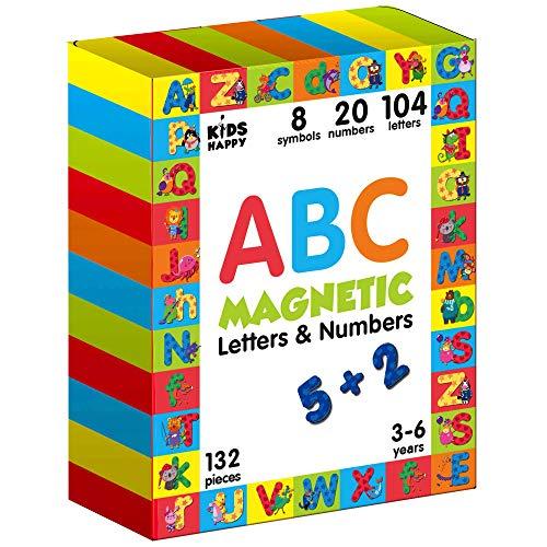 Magnetbuchstaben und Zahlen 130 pcs- Kinder Buchstaben lernen - Magnete kinder für magnettafel- Lernspiele ab 3 Jahren- Magnete für Magnettafel Kinder- Alphabet Lerner- Alphabet für Kinder