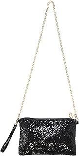 Women Glitter Sequins Crossbody Shoulder Bag Evening Bag Clutch Purse Wristlet Handbag with Removable Strap