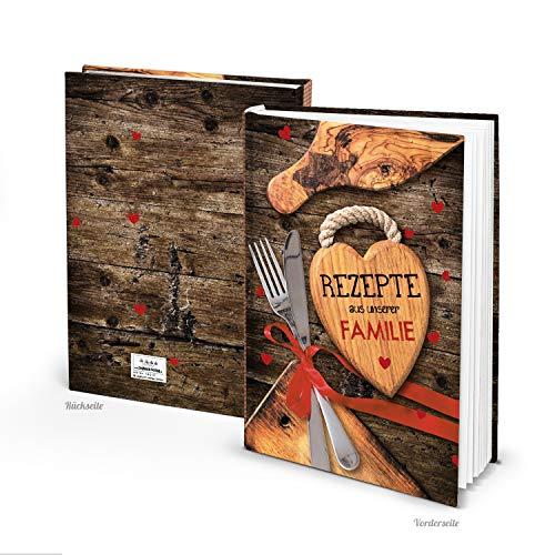 Logboek uitgeverij DIY leeg receptenboek voor de familie DIN A4 - blanco kookboek om zelf te schrijven, rustieke houtlook, cadeau oude recepten