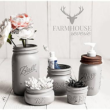 Country Grey Mason Jar Bathroom Set | Gray Bathroom Set | Farmhouse Bathroom Decor | Rustic Bathroom Decor | Vintage Decor | Rustic Kitchen Decor | Country Kitchen Decor | Mason Jar Decor