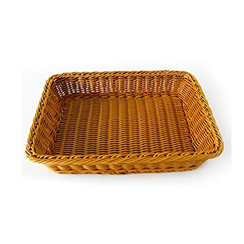 xiaokeai Bread basket Rattan Round Rectangular Bread Basket Fruit and Vegetable Basket Hand Woven Food Basket Tray Storage Basket Household Rattan basket (Color : C, Size : L)