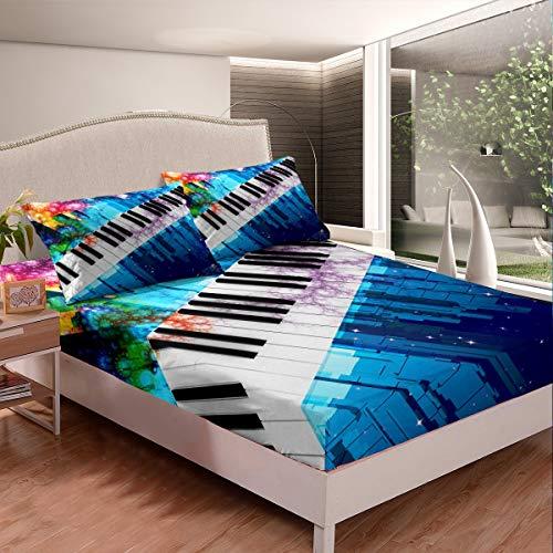 Juego de sábanas ajustables con diseño de piano para niños, niñas, adolescentes, diseño musical colorido, juego de sábanas de decoración de edificio de ciudad, 3 piezas, tamaño king