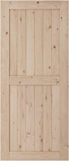 SmartStandard 36in x 84in Sliding Barn Wood Door Pre-Drilled Ready to Assemble, DIY Unfinished Solid Hemlock Wood Panelled Slab, Interior Single Door Only, Natural, H-Frame (Fit 6FT -6.6FT Rail)