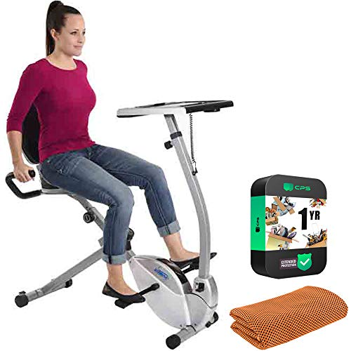 Stamina 15-0321 2-in-1 Recumbent Exercise Bike Workstation and Standing Desk Bundle with...