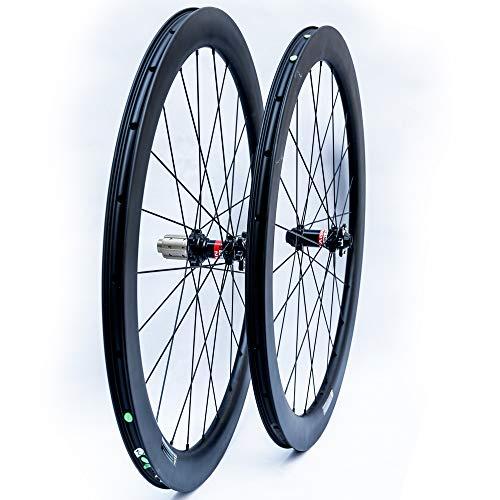 BIKEWISH Carbon Laufräder AERO 50 Disc Rennrad Laufradsatz 50mm Drahtreifen Tubeless Ready Scheibenbremse 12x100 / 12x142mm Nur 1780g