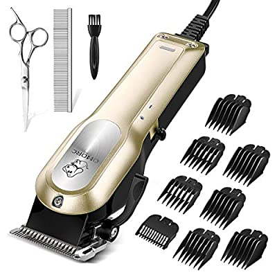 OMORC Dog Grooming Kit, Professional High Power Dog Clippers for Thick Heavy Coats Low Noise Heavy Duty Dog Grooming Clippers Pet Clippers Trimmer with 8 Comb Guides Scissors Small & Large Dog Cat Pet by OMORC
