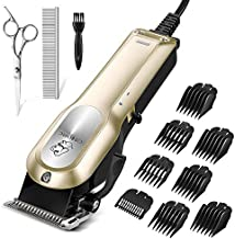 OMORC Dog Grooming Kit, Professional High Power Dog Clippers for Thick Heavy Coats Low Noise Heavy Duty Dog Grooming Clippers Pet Clippers Trimmer with 8 Comb Guides Scissors Small & Large Dog Cat Pet