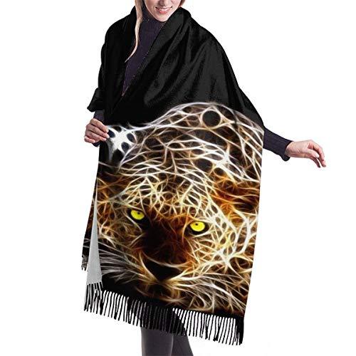 Yuanmeiju Laser Leopard - Bufanda larga para mujer, cálida para invierno, extra grande, de lana de cordero