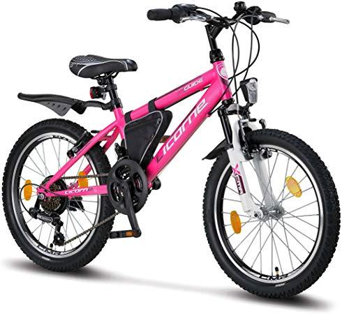 Licorne Bike Guide (Rosa/Weiß), 20 Zoll Mountainbike, geeignet für 6,7,8, 9 Jahre,Shimano 18 Gang-Schaltung,Gabelfederung, Kinderfahrrad, Mädchenfahrrad, MTB, Rahmentasche