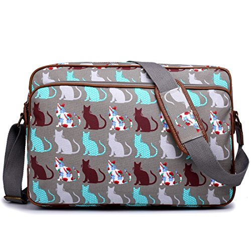 Miss Lulu Matte Finish Oilcloth Cat Dog Galaxy Universe Satchel Messenger Bag (Cat Grey)
