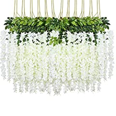 """【Cover 86.6 FT Wall】24packs Artificial Wisteria Vines. Size: 3.6 Feet, total 86.6 FT, 3 branches,each string is 21.65"""", more flower in each string, extra thick and beautiful 【Perfect for Backdrop/Decor】String flowers are perfect for bridal shower or ..."""