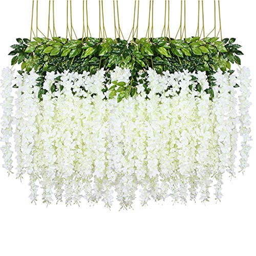 Lmeison 24 Pack 3.6 Feet Artificial Wisteria Flowers, Fake Wisteria Vine Ratta Hanging Garland Silk Flowers String Home Party Wedding Decor, White
