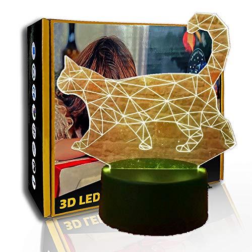 JINYI Walking Cat 3D Luz nocturna, lámpara de ilusión LED, regalo de decoración para el hogar, G- Control de Telefonía Móvil, Lámpara de decoración de oficina, Lámpara de humor