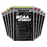 Polvo BCAA SYNERGY de PROM-IN, combinación específica de aminoácidos clave enriquecidos con vitamina B6 para generar y reparar los músculos (Naranja, 11 g)
