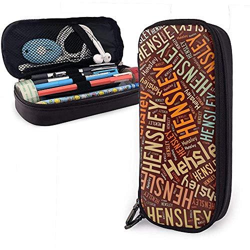 Hensley - Estuche de lápices de cuero de gran capacidad de apellido americano Organizador de papelería de pluma Organizador Bolígrafo de maquillaje universitario Bolso de papelería de estudiante