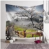 QJIAHQ Tapices de Arce de Plantas Lavanda Bosque Piedra para Colgar en la Pared decoración de habitación en 3D colchas de ratán de montaña 150 * 200 cm