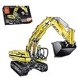 LICI Juego de construcción de piezas de construcción de ingeniería 2,4 G, 1239 piezas, excavadora motorizada con motor, compatible con Lego Technic