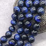 Daiwenwo Cyan Blue Tiger Eye Beads 12mm Gemstone Loose Natural Stone Round for Jewelry Making (Cyan Blue, 12mm(≈32pcs))