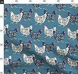 Bauernhaus, Hühner Stoffe - Individuell Bedruckt von