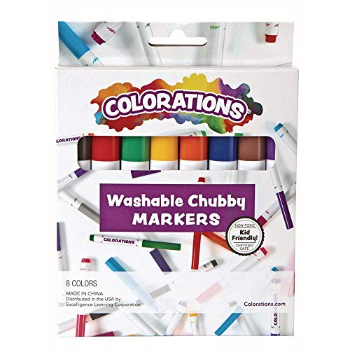 Colorations Chubby Markers Set of 8, 8 Colors, Conical Tip, Coloring, Paper, Kids, Posters, Drawing, Bold Colors, Home, Classroom, School Supplies, Art Supplies, Craft Projects,