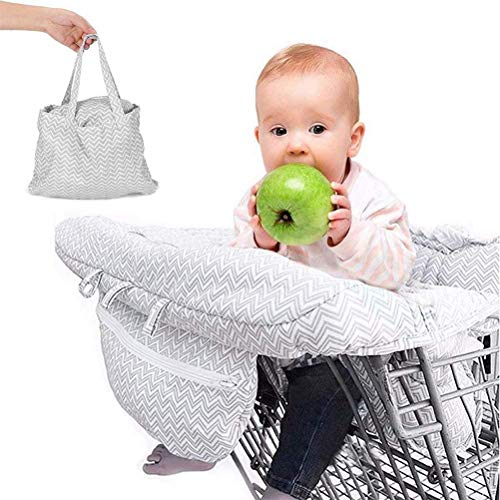 80cm Shopping Cart Seat Cover for Baby, Toddler High Chair Cover Seat Pad Full Safety Harness Trolley Highchair Cover Machine Washable Baby Trolley Cover Foldable Storage - Thick
