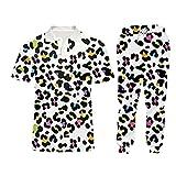 Pantalones de Sudaderas Informales de Talla Menor de Hombres Pantalones de 2 Piezas Sudaderas de Mujer Leopardo + Sweetpants Traje PLPA09583 L