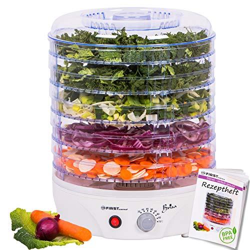 Essicatore con regolatore di temperatura da 35 a 70 gradi | 5 ripiani regolabili in altezza | privo di BPA | ricettario incluso | macchinetta per essiccare | essicatore per frutta |