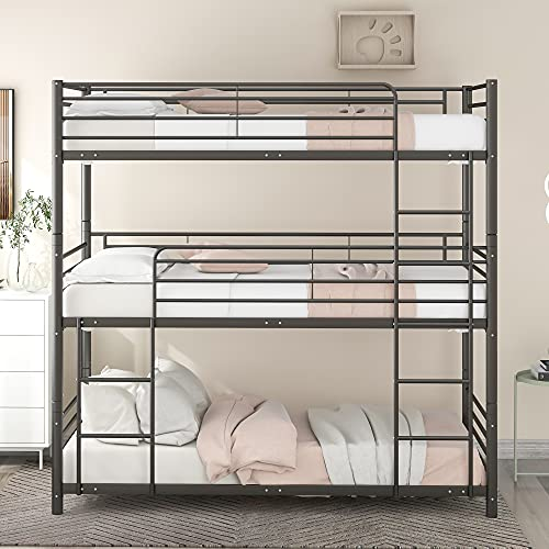 Triple Bed Separated into Several Beds Metal Twin-Over-Twin-Over-Twin Bed Bunk Bed with 3 Ladders, Bunk Bed for Family, Kids, Teens, No Box Spring Needed