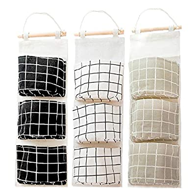 3Pcs Wall Closet Hanging Storage Bag, AUHOKY Premium Linen Fabric Over The Door Organizer, Hanging Storage Pouches with 3 Pockets for Bedroom Bathroom - Waterproof & Stylish (Black/Gray/White) by AUHOKY