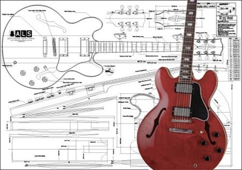 Cheap Plan of Gibson ES-355 Hollow Body Electric Guitar - Full Scale Print Black Friday & Cyber Monday 2019