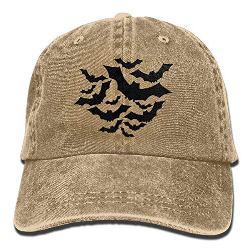 A Group of Black Bats Denim Hat Adjustable Men Low Baseball Caps