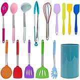 Larew Cucchiai da Cucina Utensile da Cucina in Silicone 14 Pezzi con 1 Supporto Cucchiai Palette Spatole Accordatore Intagliato, Cucchiaio da Portata, Frullatore di Patate, Frusta per Uova