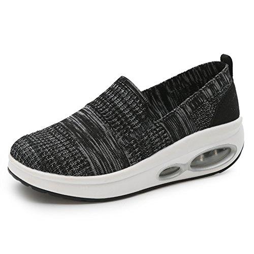 Zapato gótico de cuña para Mujer Lienzo Sin Cordones Zapato Punk Respirable cómodo Negro 35(Recomendar tamaño uno más)