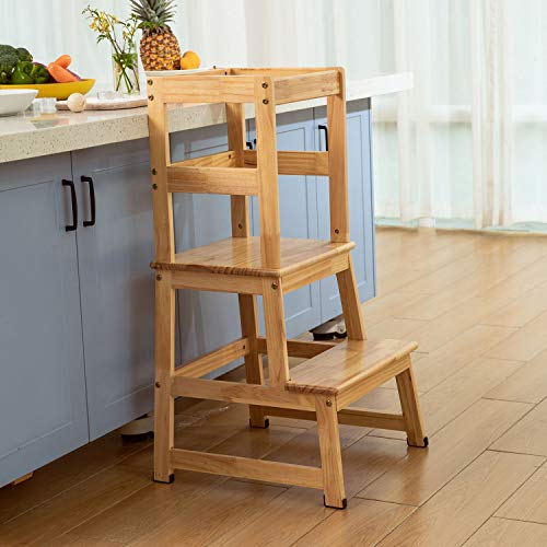 Kitchen Helper Step Stool for Kids and Toddlers with Safety Rail Children Standing Tower for Kitchen Counter Mothers#039 Helper Kids Learning Stool Solid Wood Construction