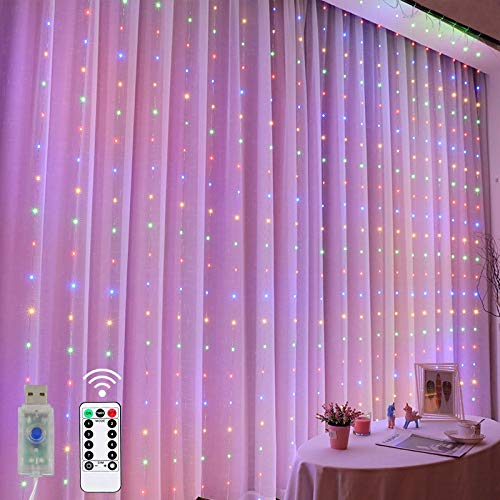 Curtain Lights LED Christmas light 3m x 3m USB Plug in Window Rainbow Fairy Light Remote Copper Wire String Lighting for Room Home Party Wedding Gazebo Festival Christmas Decorations Multi Colour