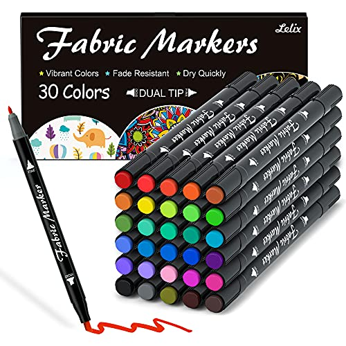 Fabric Markers, Lelix 30 Permanent Colors Dual Tip Fabric Pens for Writing Painting on T-Shirts...