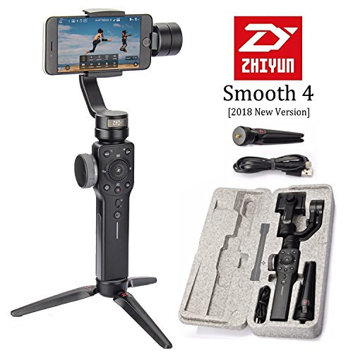Zhiyun Smooth 4 3-Axis Handheld Smartphone Gimbal Stabilizer, Upgraded Phone Gyro Stabilizer Vlog Tripod w/Focus Pull&Zoom for iPhone Xs Max X/8 Plus/7/SE Samsung Galaxy S9+/S8/S7 etc Mobiles (Black)