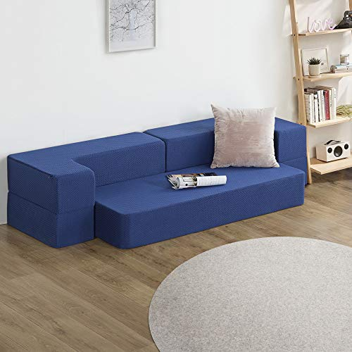 PrimaSleep 8 Inch Gel Memory Foam Multi-Function Mattress/Floor Mat/Sofa/(Dark Blue), Twin