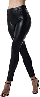 Sexy Women Stretch High Waist Pants with Pockets Push Up Skinny Leather Leggings Wet Look Trousers