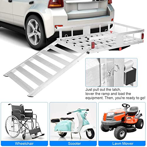 Goplus Aluminum Cargo Carrier, 50'x29.5' Hitch Mounted Wheelchair Scooter Mobility Carrier Medical Lift Rack Ramp, 500 lbs Weight Capacity