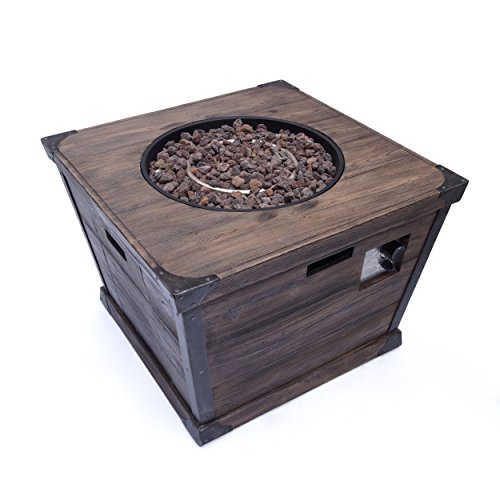 Christopher Knight Home Delaney Outdoor Square Firepit - 40,000 BTU, 32', Brown
